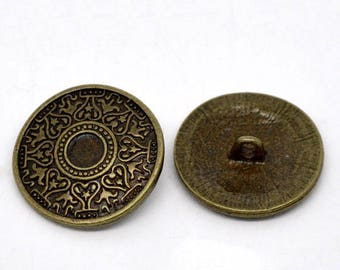 20 buttons, metal, vintage style, antique-style, 25mm, bronze, 08919