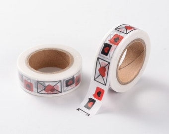 10 m tape, 15 mm wide, Valentine's Day, love, love letter, crafting, decorating, cards