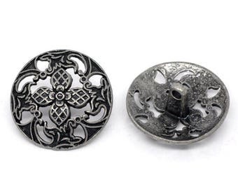 20 buttons, metal, vintage style, antique-style, 23mm 09137