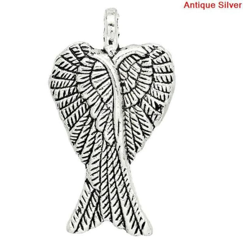 27883 angel antique silver vintage style charms charm protect wings 5 pendant