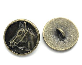 20 buttons, metal, vintage style, antique-style, 15mm, bronze, horse motif, 25215