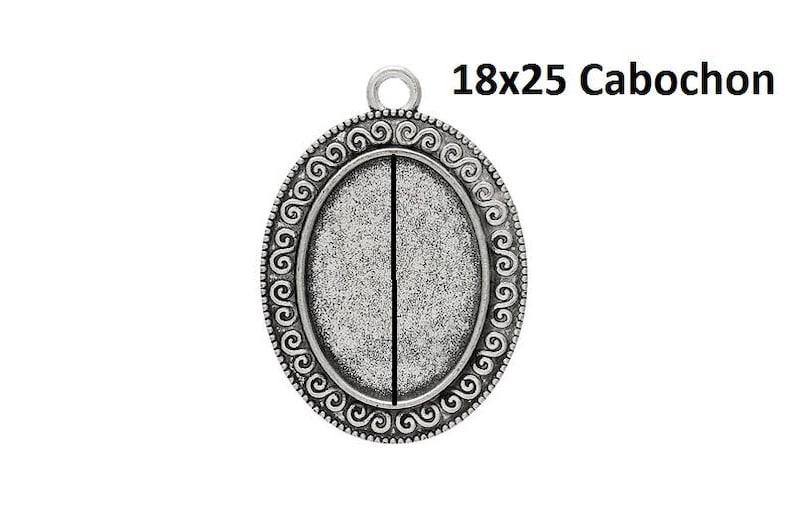520 Large pendant cabochon.18 x 25 mm silver versions ornate jewelry pendant vintage