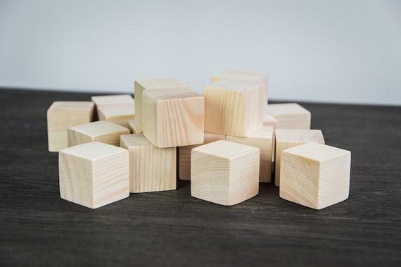 Unpainted Blocks Wooden Blocks for Kids -  Natural 20 piece set