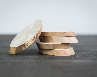 """10 Natural white Birch. Wood angle slices for craft Projects. Bark logs. Tree slices. about 2.5"""" to 5"""" long"""