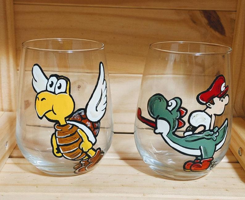 Wine Glasses INSPIRED MARIO YOSHI Koopa Troopa set of 2