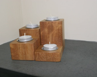 Set of 4 tea light holders,Cheery wood