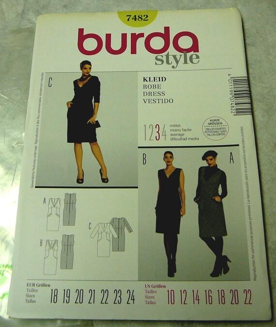 Burda Style 7482 Schnittmuster , Kleid, Robe, Dress, Vestido, Kurzgrößen 18 24, pattern short size K75