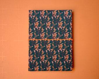 Mini Book of Stories concertina scrapbook album for photos herbarium recipes, handmade in Italy, 38 pages, white or black,  autumn blue