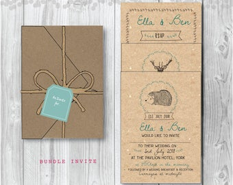Pocketfold Wedding Invitation -  Rustic Woodland Stag and Hedgehog Pocketfold Stationery