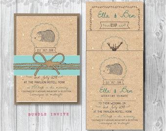Sample Only - A6 or A5 Rustic Wedding Invitation - Woodland Wedding -