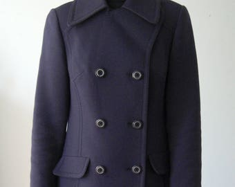Purple Double breasted Wool Plaid coat from the 60s/70s