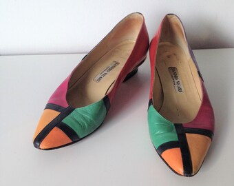 Original vintage Sandro Vicari peep toe block heel slingback pumps size UK5 EU38 US7 Italian designer