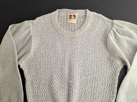 RESERVED!! Lovely 60s / 70s / 80s Lamè Silver Cre… - image 9