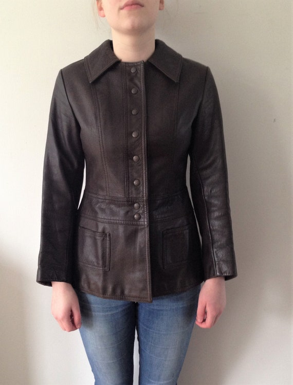 Vintage 70s leather jacket // Vintage brown leath… - image 1