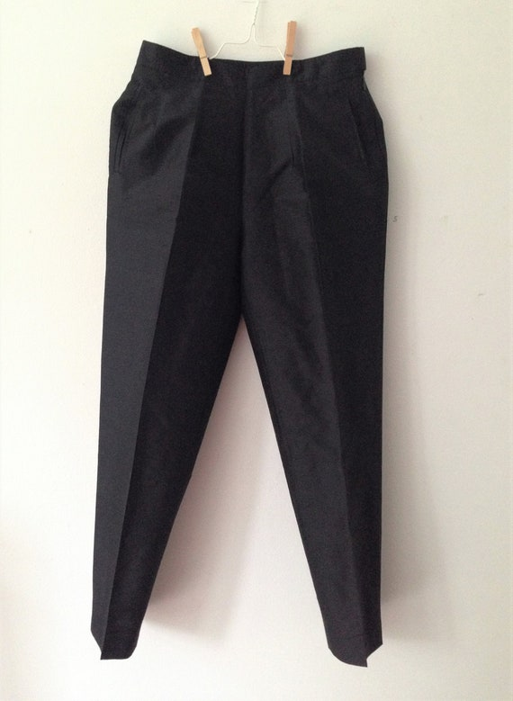 Vintage silk 80s Cigarette Pants // High Waist bla