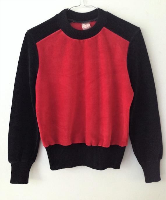 Vintage velour   velvet sweater // 70s black and … - image 7