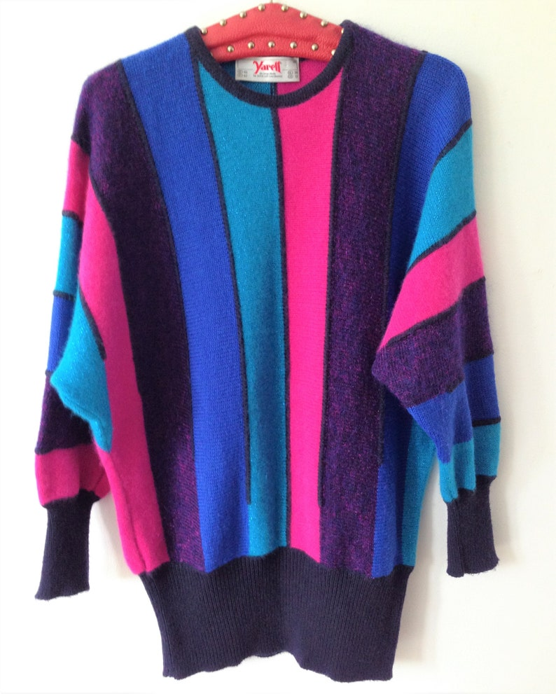 a18f0a38b7e Amazing Sweater Dress by YARELL    Vintage 80s striped sweater
