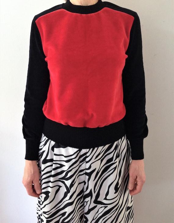 Vintage velour   velvet sweater // 70s black and … - image 6