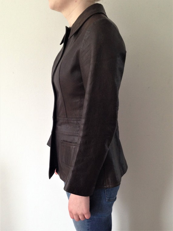 Vintage 70s leather jacket // Vintage brown leath… - image 2