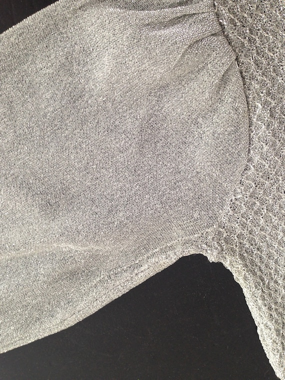 RESERVED!! Lovely 60s / 70s / 80s Lamè Silver Cre… - image 10
