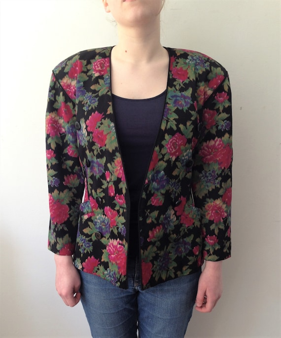 Escada 80s Graphic Abstract Floral Printed Wool Bl