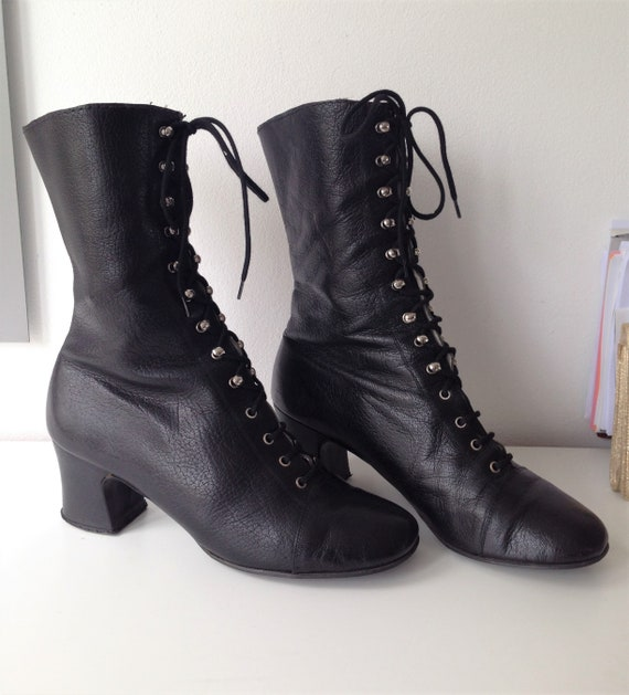 Vintage 60s lace up boots // 60s black lace up boo