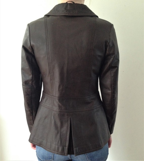 Vintage 70s leather jacket // Vintage brown leath… - image 3