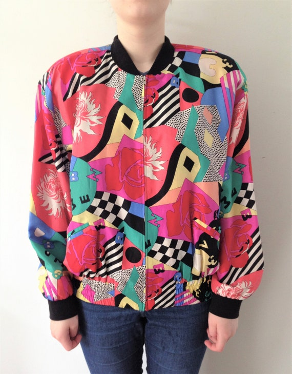 Vintage BETTY BARCLAY silk bomber jacket // 90s si