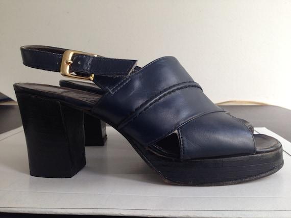 Original 70s Platforms Shoes // Blue Leather Platf