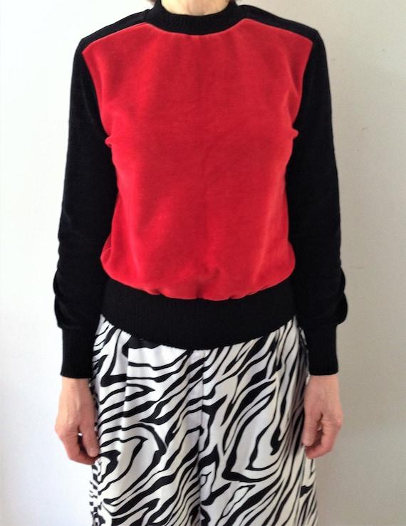 Vintage velour   velvet sweater // 70s black and … - image 1