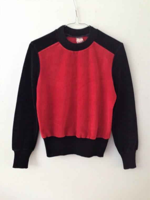 Vintage velour   velvet sweater // 70s black and … - image 2