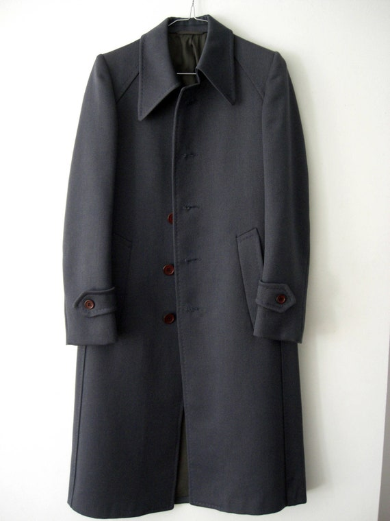 Vintage Winter COAT/70s Overcoat Blue Grey/Pure Wo