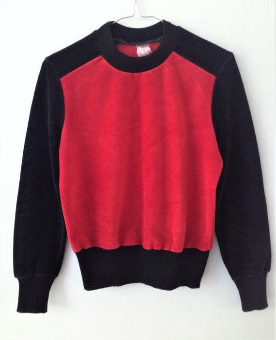 Vintage velour   velvet sweater // 70s black and … - image 4