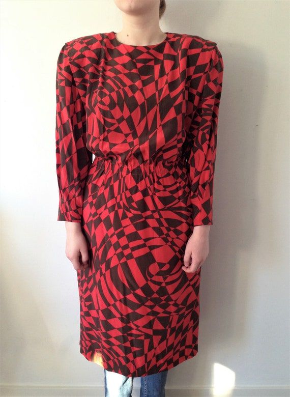 Vintage 80s SILK dress with lovely print // Size m