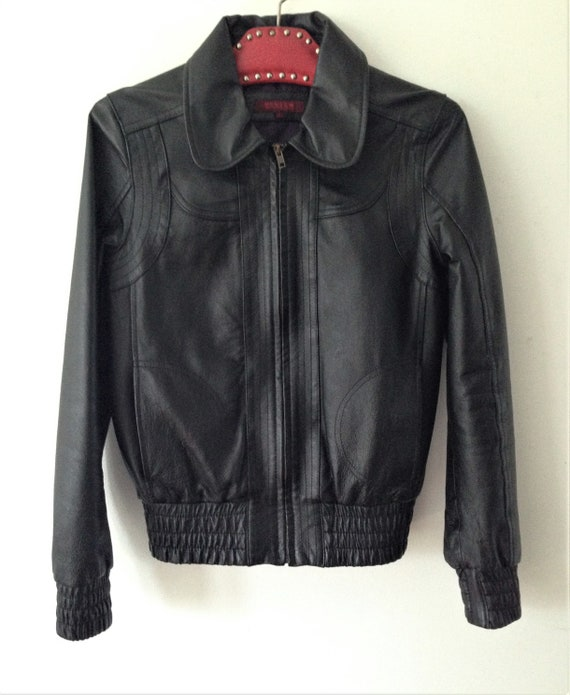 Vintage leather jacket // Black leather short jack