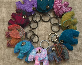 Harris Tweed Elephant Keyringelephant Lovers Giftbag Charmbag Foblanyard CharmBirthday GiftValentines Gift