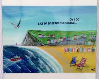 Coaster, Beside the sea, original art, print, seaside, beach, beach huts, sea, beach, holiday, home, gift, best friend, him, her, mat, tea,