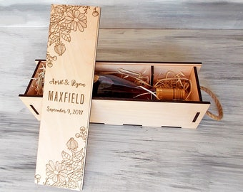 Rustic Wedding. Wine Box. 5th Anniversary Gift. Gift for Couple. Gift for Her. Custom Wine Box. Wine Ceremony. Valentines Gift for Wife