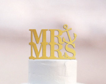 Beach Wedding Cake Topper Gold Anchor Cake Topper Nautical Wedding Cake Topper Beach Wedding Decor Destination Wedding Topper Mr and Mrs