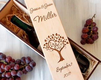 Rustic Wedding Wine Box, Personalized Wine Box, Valentines Gift, Wooden Wine Box, Bridesmaid Gift, Wine Box Ceremony, 5th Anniversary Gift