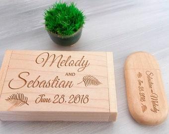 Personalized Wood USB 8-32 Gb Wedding Keepsake Bridesmaid Gift Custom Flash Drive Wedding Gift Engraved Memory Stick Wedding Photography USB