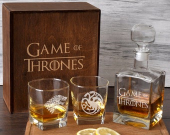 a70baa28 Personalized Gift for Dad Game of Thrones Gift for Him Engraved Decanter  Glass Set GOT Gift Etched Whiskey Glass Thrones Wedding Gift Box