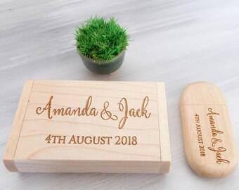 Wood USB, Wedding Keepsake, 32GB USB, Custom USB, Bridesmaid Gift, Personalized Flash Drive, Wedding Gift, Engraved Gift Wedding Photography