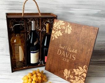 Personalised Wooden Wine Box Engraved Adventure Beings Wedding Wine Gift Box