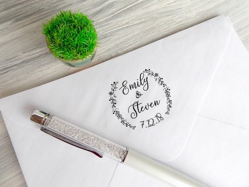 Calligraphy Stamp Rustic Stamp Wedding Favors Stamp Personalized Wedding Stamp Bridal Shower Gift Wedding Date Stamp Custom Stamp