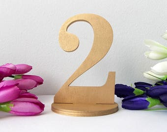 Wedding Table Numbers, Rustic Table Numbers with Base, Gold Table Numbers, Wooden Table Numbers, Freestanding Table Numbers, Rustic Wedding