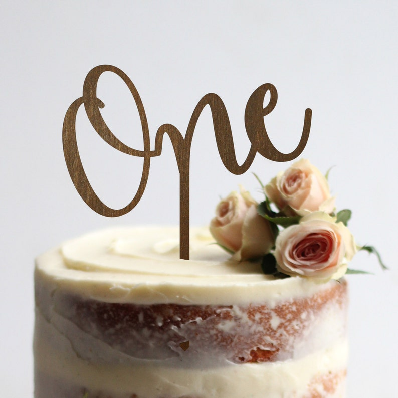 Birthday Cake Topper One Numbers Rustic