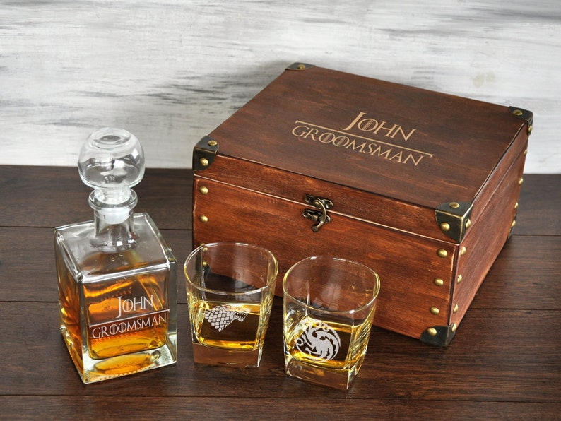 Game Of Thrones Groomsmen Gift Box Etched Whiskey Decanter Set Etsy