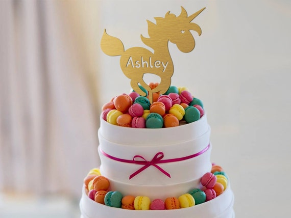 Birthday Cake Topper Unicorn Name Gold Anniversary Custom Rustic Party