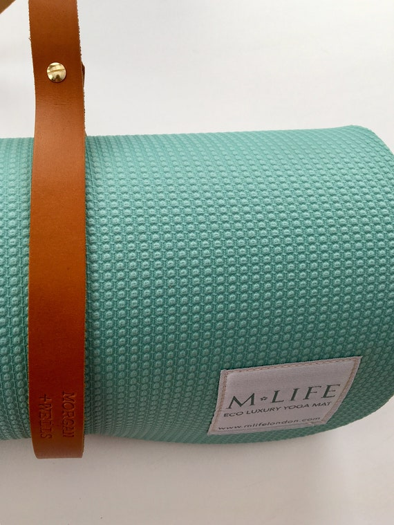 Morgan + Wells 'Namaste' leather yoga mat strap // yoga accessory // yoga gift // Made in Yorkshire // pilates / yoga mat